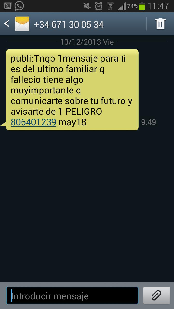 Dar de baja SMS TAROT, 806575344, etc